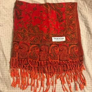 Pashmina Red Paisley Silk Blend Scarf